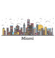 outline miami florida city skyline with color vector image vector image