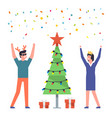 people celebrate merry christmas and new year vector image