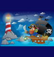 pirate ship theme image 5 vector image vector image