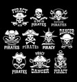 pirates black icons for piracy flags vector image vector image