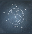planet earth icon on chalkboard vector image