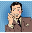 Playboy man kiss face red lipstick style art pop vector image vector image
