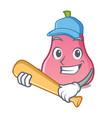 playing baseball rose apple character cartoon vector image