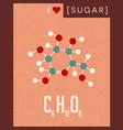 retro poster of simple sugar molecule vector image vector image