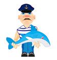 sailor with caughted by shark vector image vector image