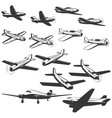 set aircraft icons isolated on white vector image vector image