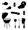 Set of barbecue related icons food grill tools vector image