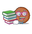 student with book chocolate biscuit mascot cartoon vector image vector image