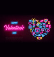 valentines day neon baner flyer poster vector image vector image