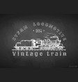 vintage train on blackboard vector image vector image