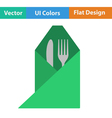 Icon of fork and knife wrapped in napkin vector image