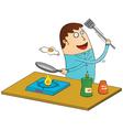 Man making omlette vector image
