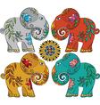 Set of 4 Indian elephants vector image