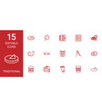 15 traditional icons vector image vector image