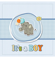 baby boy shower card with elephant and balloons vector image vector image