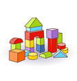 babys letter cubes toys wooden or plastic color vector image