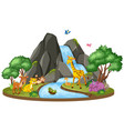background scene wild animals and waterfall vector image vector image