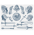 big set medieval symbols helmet and gloves vector image vector image
