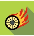 Burning wheel icon flat style vector image
