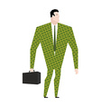 Businessman in suit of dollars Money Clothing vector image vector image