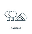 camping outline icon thin line concept element vector image vector image