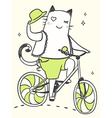 cartoon cat on a bicycle with a hat vector image vector image
