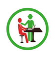 circular border worker with boss in office vector image