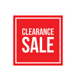 clearance sale sign square vector image vector image