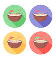 coconut fruit with straw and umbrella on circle vector image vector image