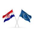 croatia and european union waving flags vector image vector image