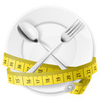 crossed spoon and fork plate Diet metr 02 vector image vector image