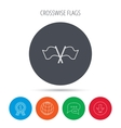 Crosswise waving flag icon Location pointer vector image vector image