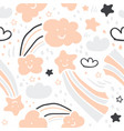 cute scandinavian handdrawn pattern- stars clouds vector image vector image