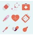 Decorative medical emergency first aid kit symbols vector image