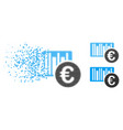 dissipated dot halftone euro bar code price icon vector image vector image