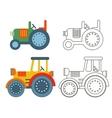 doodle retro agricultural tractors vector image