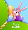 Easter eggs and bunny with zipper vector image vector image