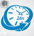 Elegant 3d round 24 hours clock around-the-clock vector image vector image