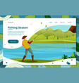 fisherman on river with trout vector image vector image