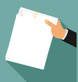 flat hand holding white sheet vector image vector image