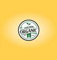 fork leaf organic food circle label logo vector image