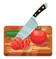 fresh vegetables on woden cutting board with knife vector image vector image