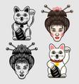 geisha head and maneki neko lucky cat japanese vector image
