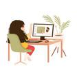 girl sitting at her desk having online lesson vector image