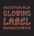 glowing letters label typeface colorful vector image vector image