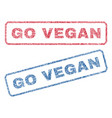 go vegan textile stamps vector image vector image