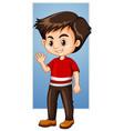 happy boy waving hand vector image vector image