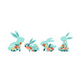 happy easter of bunnies vector image vector image