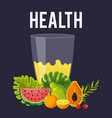 health food fresh juice watermelon papaya orange vector image