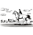 horse and rider in the race vector image